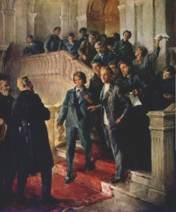 В.И. Ленин в Казанском университете. С картины художника О. Вишнякова.