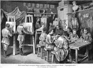 Скульптурный класс фабрики серебряных изделий П.А.Овчинникова. «Всемирная иллюстрация», 1879, №21.