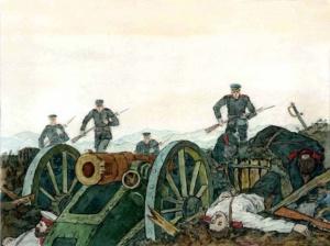 Японская пехота атакует Куропаткинский люнет. Первый штурм Порт-Артура. Худ. Денис Базуев