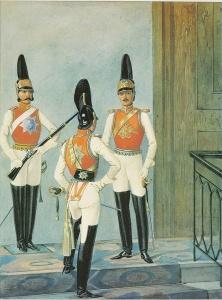 Рядовой (слева) и обер-офицер (спиной) Кавалергардского полка и обер-офицер лейб-гвардии Конного полка в форме 1841–1845 годов