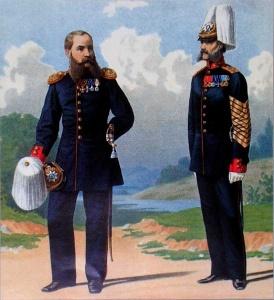 Обер-офицер и унтер-офицер роты дворцовых гренадер в воскресной форме. 1879