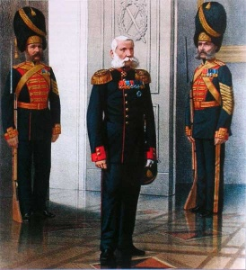 Штаб-офицер и гренадеры роты дворцовых гренадер в обыкновенной и парадной формах. 1878