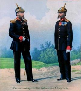 Обер-офицер и унтер-офицер роты дворцовых гренадер в обыкновенной форме. 1878