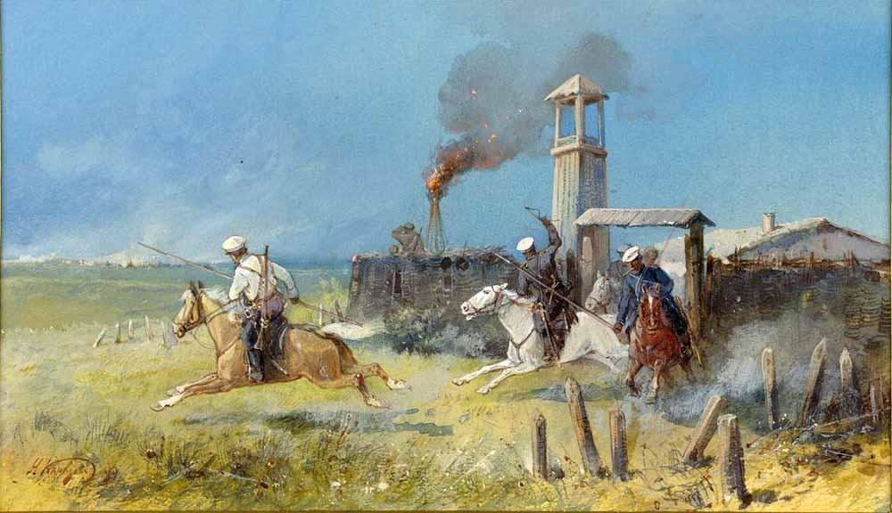 «Нападение кокандцев на казачий выселок Узун-Аган». Николай Николаевич Каразин (1842—1908)