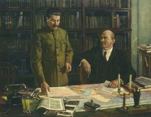 Д. Налбандян. В.И. Ленин и И.В. Сталин за разработкой плана ГОЭЛРО
