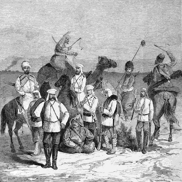 Представители частей, входивших в состав 1-й Ахал-Текинской экспедиции. С наброска А. М. Алиханова. 1879
