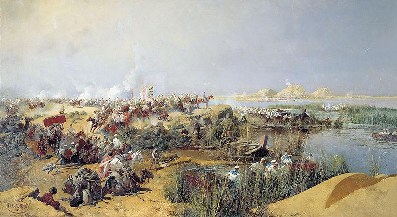 Переправа туркестанского отряда через Аму-Дарью 1873 года. НИКОЛАЙ НИКОЛАЕВИЧ КАРАЗИН. 1889