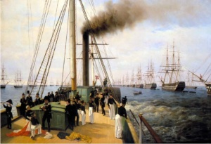 А.П. Бололюбов. Смотр Балтийского флота. 1848 год 1850-1860-е. Холст, масло. 80 x 120.