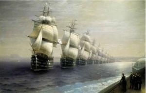 И. К. Айвазовский (1817-1900). Смотр Черноморского флота в 1849 г. 1886.