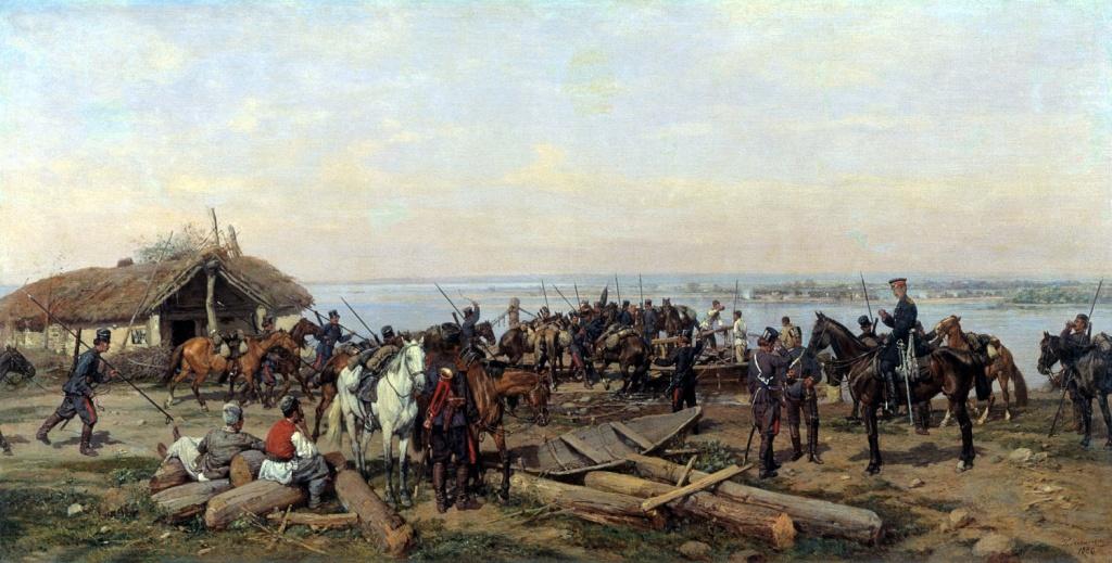 Ковалевский Павел (1843-1903) ~ Переправа через Дунай. 1880. Холст, масло