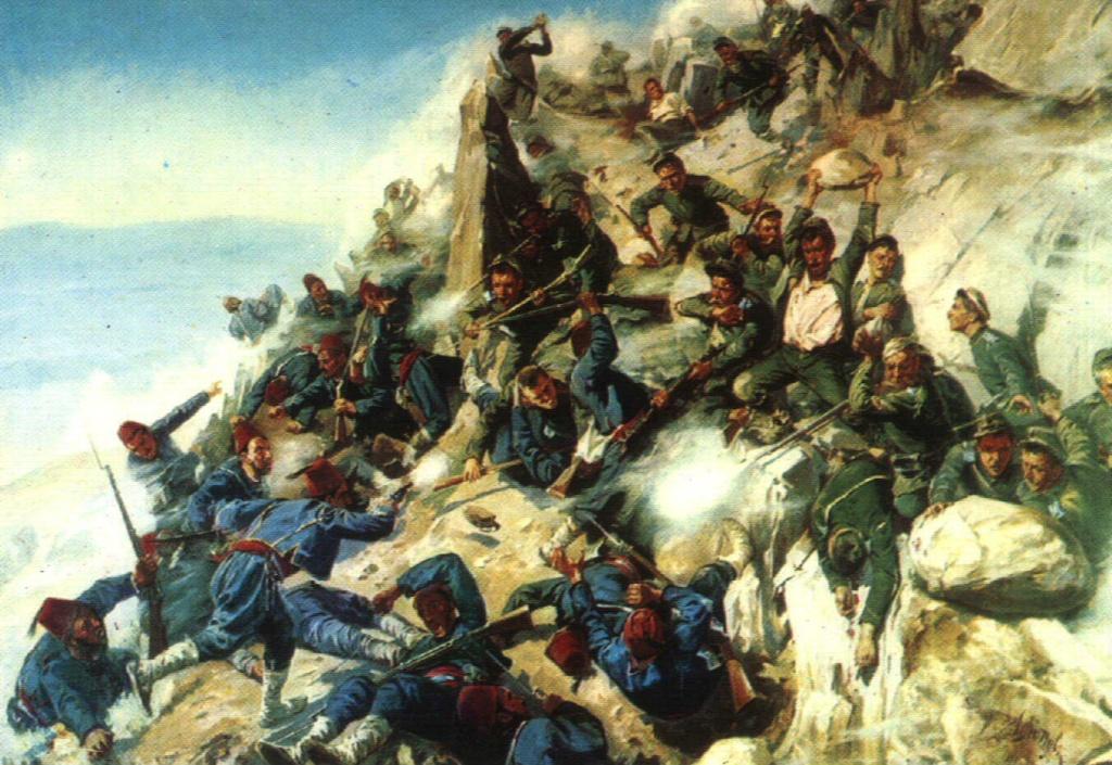 А.Н. Попов (1858-1917) Защита Орлиного Гнезда орловцами и брянцами 12 августа 1877 года. 1893