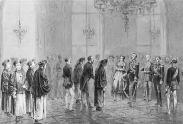 Торжественное представление императору Александру II китайского посольства в Зимнем дворце 4 февраля 1870 года. Гравюра на дереве Л. А. Серякова по рисунку К. Брожа. 1870 г.