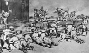 Первая перестрелка с китайскими войсками 4 июня 1900 года. Наши стрелки и английские артиллеристы. Полковник Анисимов