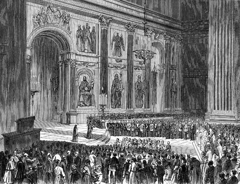 Чтение в Исаакиевском соборе Высочайшего манифеста о войне с турками. Рис. П. Ф. Борель, гравюра Б. Брауне. (Высочайший манифест 12-го апреля 1877 г. )