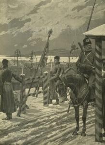 Манчжурия. Казачий пост на дороге.Казаки в Русско-японской войне 1904-1905 г.г.