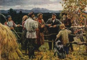В. Басов. В.И.Ленин среди крестьян села Шушенское