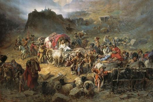 Оставление горцами аула при приближении русских войск. Франц Рубо