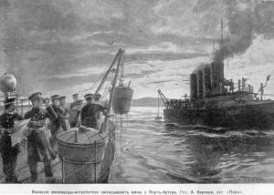 русско-японская война 1904-1905г.г. Война на море. Японские миноносцы закладывают мины у Порт-Артура