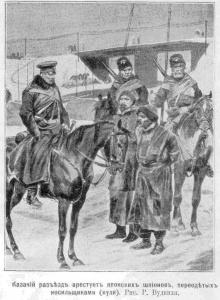 Русско-японская война 1904-1905 годов война на суше, Казачий разъезд арестовывает японских шпионов, переодетых в носильщиков(кули). Рис. Р.Вудвиля