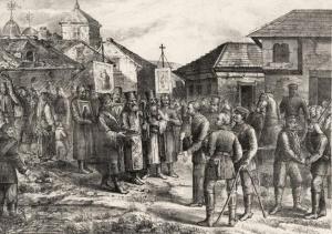 Вступление русских войск в Софию. Литография А.В.Морозова, 1877г.