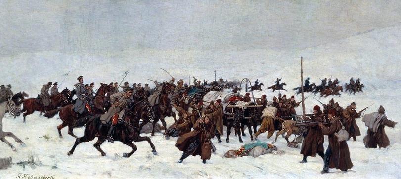 Павел Ковалевский Атака русской кавалерии на турецкий обоз. 1877 год. 1880-е гг.