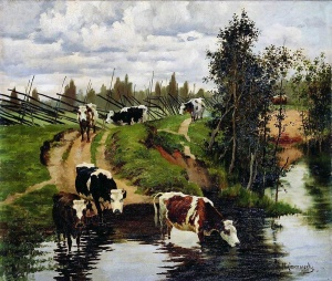 Коровы на водопое. 1908, Степанов Алексей