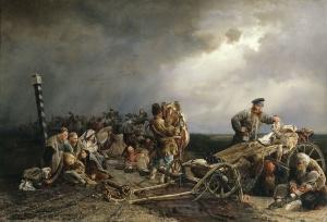 Худ. Якоби В. И. Привал арестантов. 1861 Холст, масло, 98 x 143 Государственная Третьяковская галерея