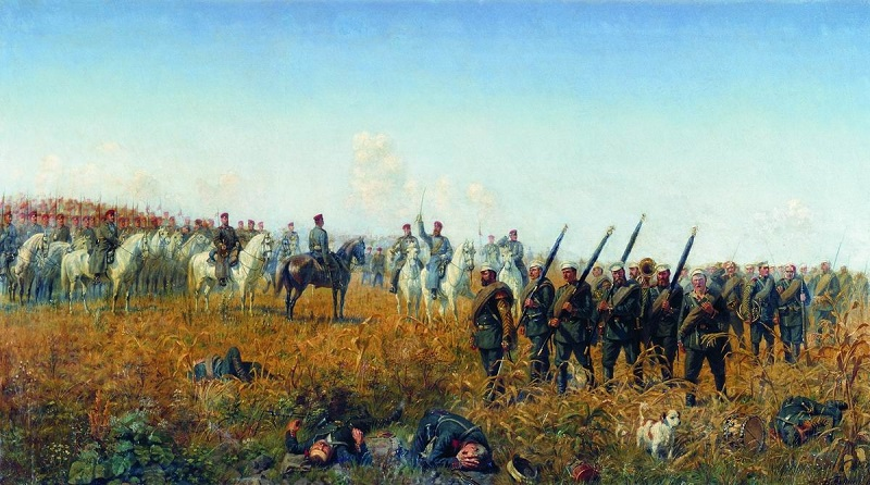 Лейб-гвардии Гусарский полк приветствует лейб-гвардии Егерский полк после боя под Темичем 12 октября 1877 года. БУНИН НАРКИЗ НИКОЛАЕВИЧ (1856-1912.) 1888