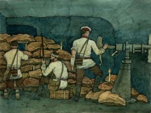 В порт-артурских подземельях. Бой в капонире форта № 2 (б., акварель; 30х40см; 2003). Базуев Денис