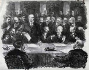 Заседание Временного комитета Государственной Думы 28 февраля 1917 года. (М.В.Родзянко) Литография. РГАСПИ