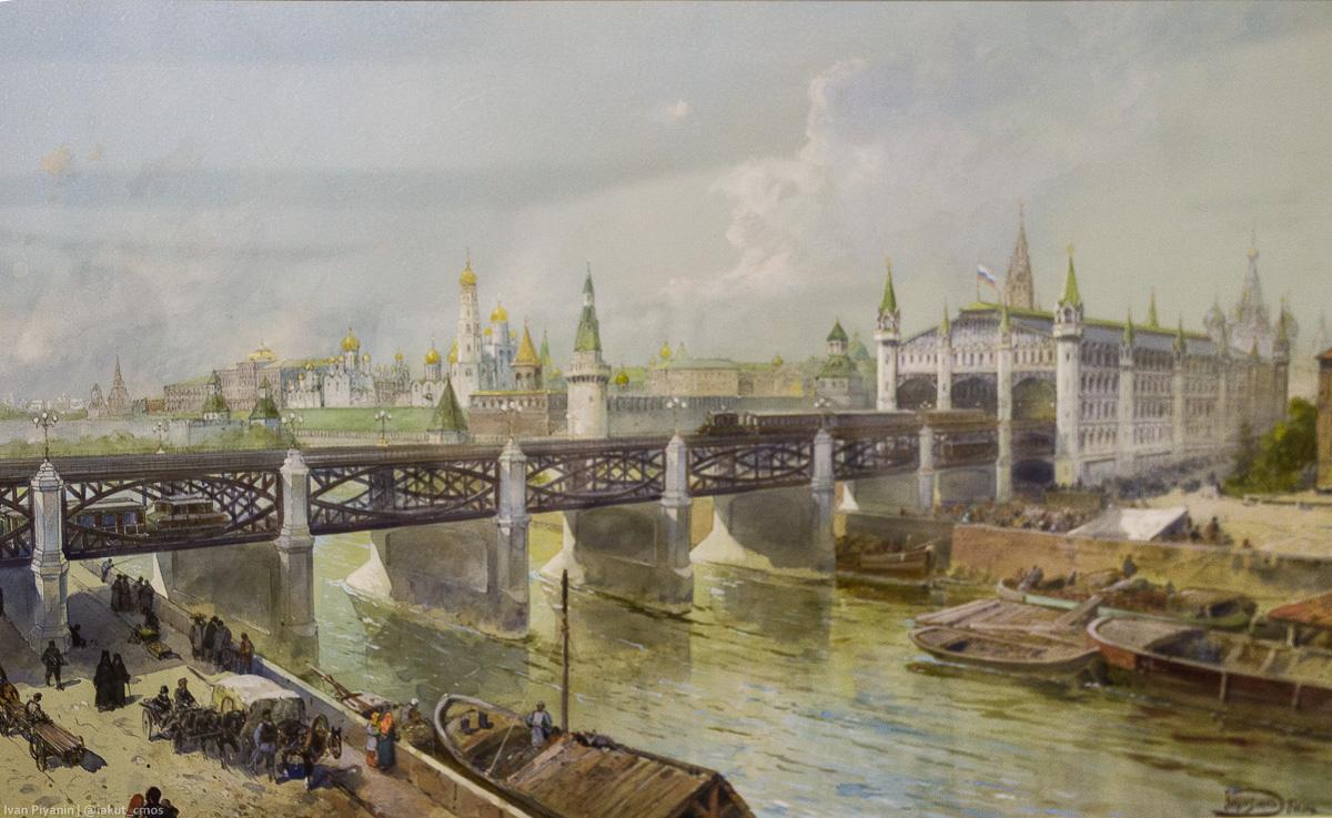 Проект московского метрополитена 1902 г. Акварель художника Н.Н.Каразина.