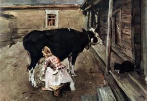 Крестьянский Дворик В Финляндии. 1902, Серов Валентин Александрович.