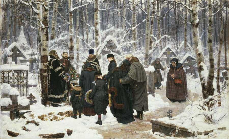 Константин Аполлонович Савицкий. Панихида на кладбище на девятый день 1885. Государственная Третьяковская галерея, Москва