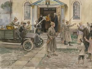 Реквизиция церковного имущества в Петрограде. Художник Иван Владимиров (1869-1947)