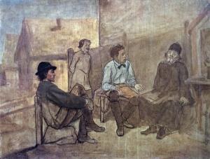 Перов Василий Григорьевич [1834—1882]. Разговор студентов с монахом. 1871