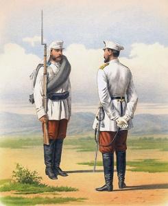 Рядовой и обер-офицер туркестанского линейного батальона (походная и обыкновенная форма). 1877