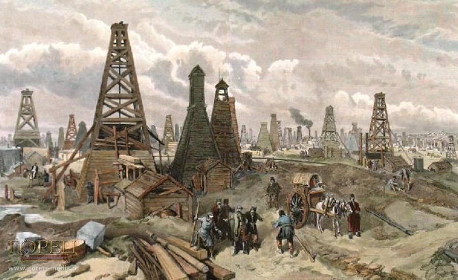 В. Симпсон. Нефтяные скважины в Баку, на Каспии (1886)