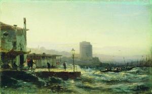 Баку. Набережная. Художник А.П.Боголюбов. 1861