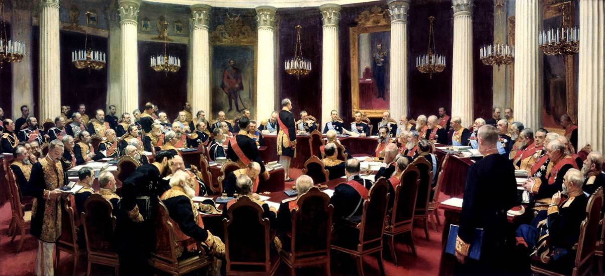 Репин И.Е. Торжественное заседание Государственного совета 7 мая 1901 года, в день столетнего юбилея со дня его учреждения 1903. Государственный Русский музей, Санкт-Петербург