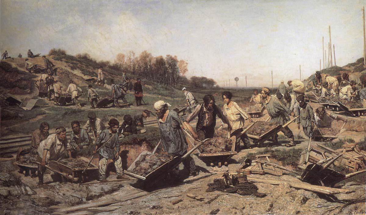 Ремонтные работы на железной дороге. Константин Аполлонович Савицкий. 1874