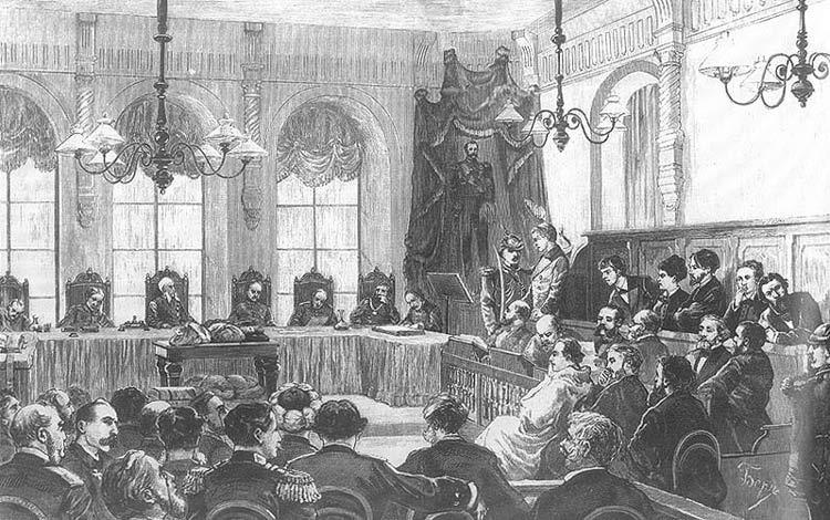 Заседание особого присутствия Правительствующего Сената по делу о злодеянии 1 марта Гравюра с рис. Д. Беера
