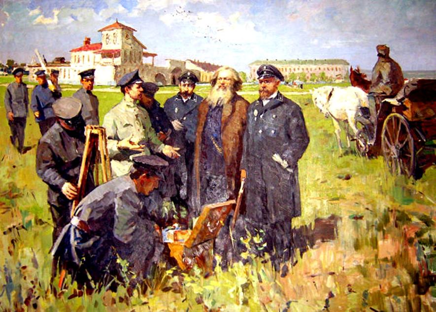 Д.И. Менделеев с преподавателями и учениками штейгерской школы в Лисичанске, 1888 г. Картина из Музея истории горного дела г. Лисичанск. Автор и дата написания картины неизвестны.