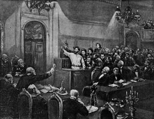 Выступление рабочего Петра Алексеева на суде 9 марта 1877. Худ. Г.В. Ивановский