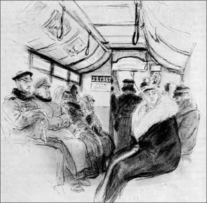 В конке 1891. И.Е. Репин