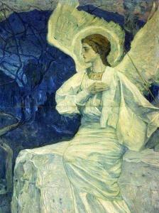 Ангел, сидящий на гробе. 1908-1911. М. В. Нестеров