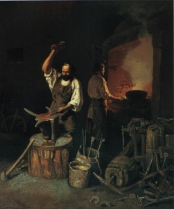 Художник Лавр Плахов Кузница 1845 г.