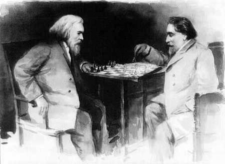 Д. И. Менделеев играет в шахматы с художником А. И. Куинджи. С фотографии 1882г. Акварель (24 x 18 см). Музей шахмат, ЦДШ им. М. М.Ботвинника