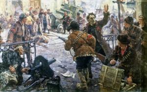 """Картина Г. Савицкого """"Бой на Кудринской площади в Москве. Октябрь 1917"""