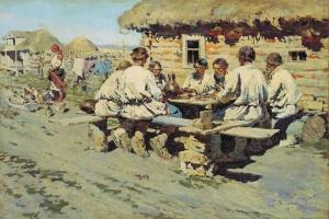 Виноградов Сергей (1869-1938). Обед работников. 1890. Холст, масло