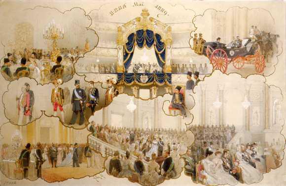 Прием персидского шаха Наср-эд-Дина в Петербурге во время его визита 11-14 мая 1889 года. 1889. Худ М. Зичи.